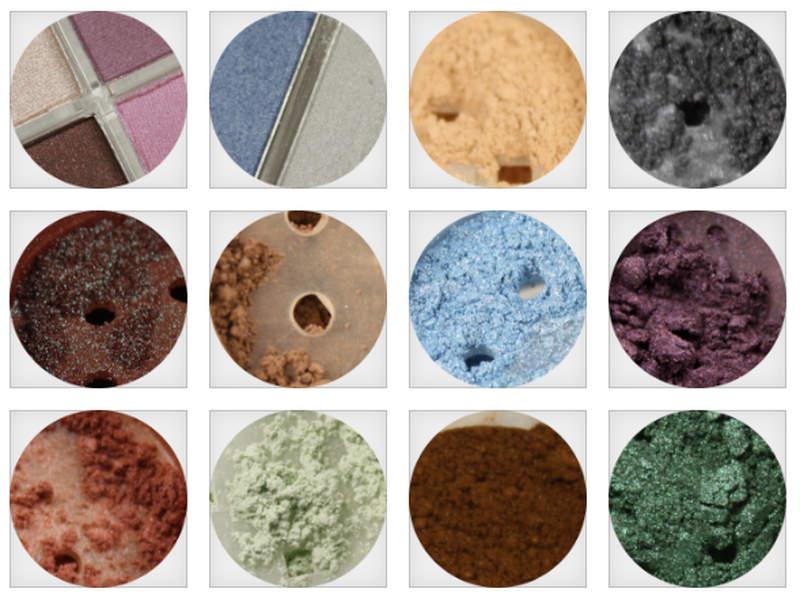 Mineralkosmetik Farben verschiedener Marken